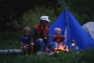 Father and sons camping